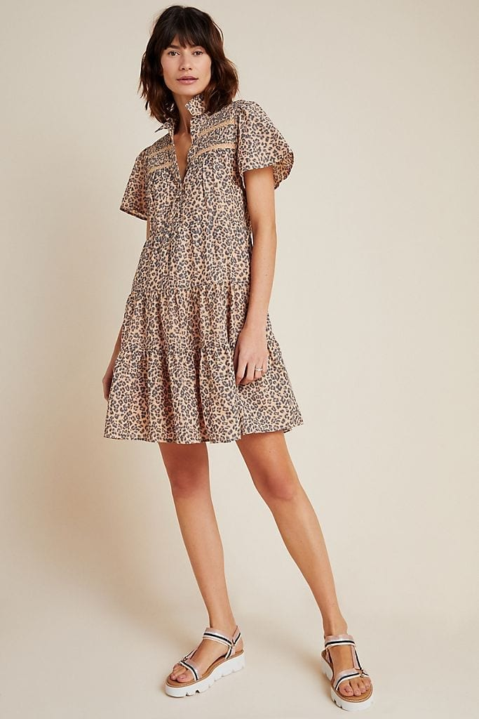 ANTHROPOLOGIE Georgina Tiered Shirt Dress
