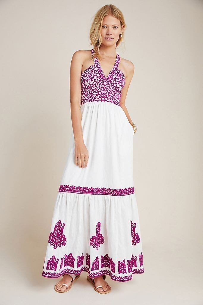 ANTHROPOLOGIE Manuela Embroidered Midi Dress