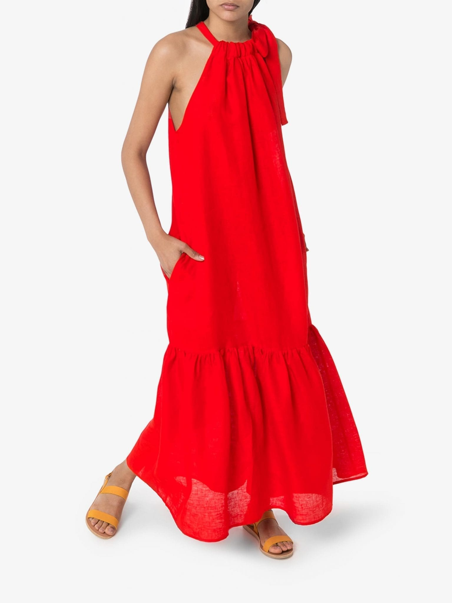 ASCENO Ibiza Ruffled Maxi Dress