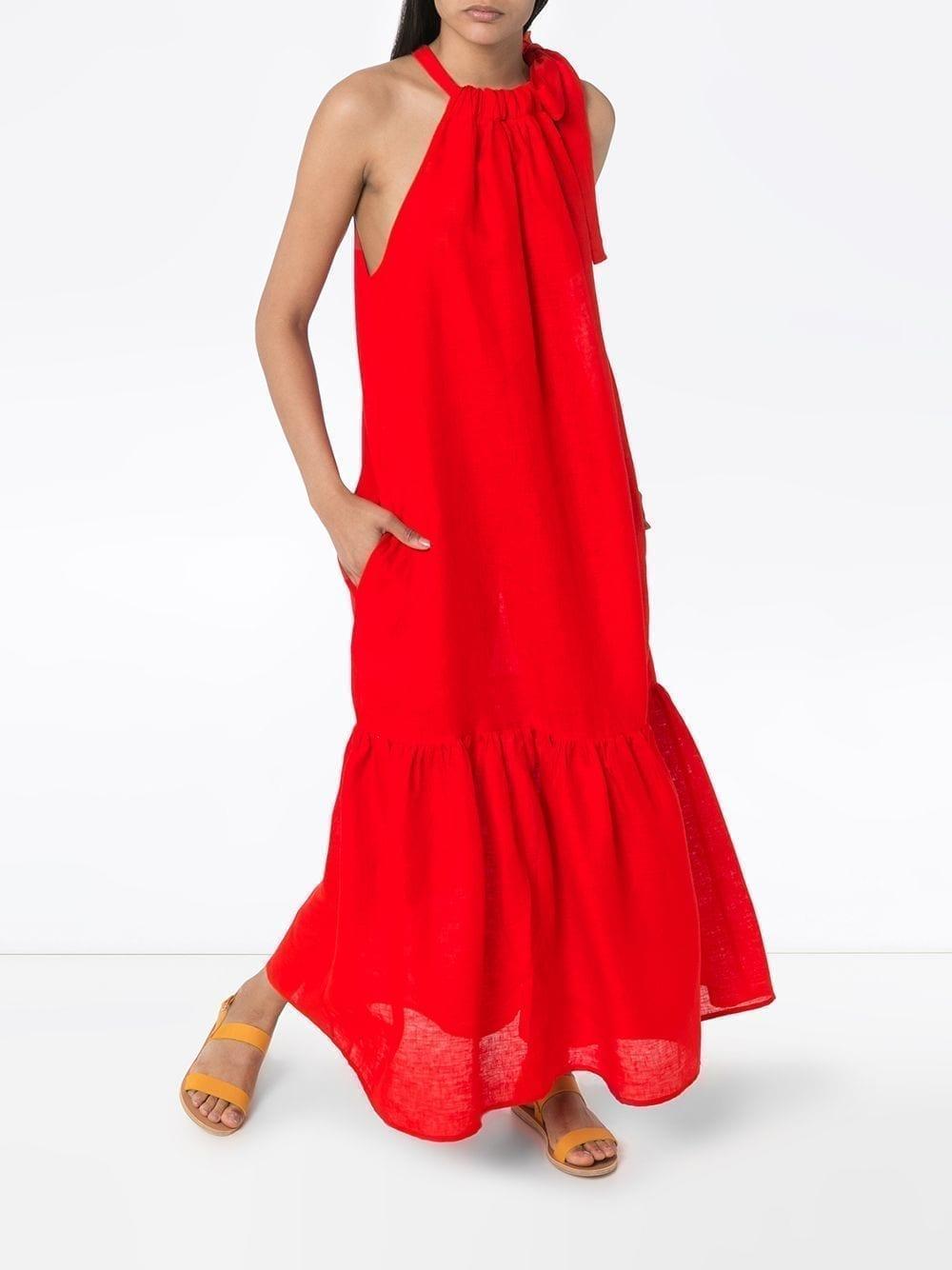 ASCENO Ibiza Ruffled Maxi Dress