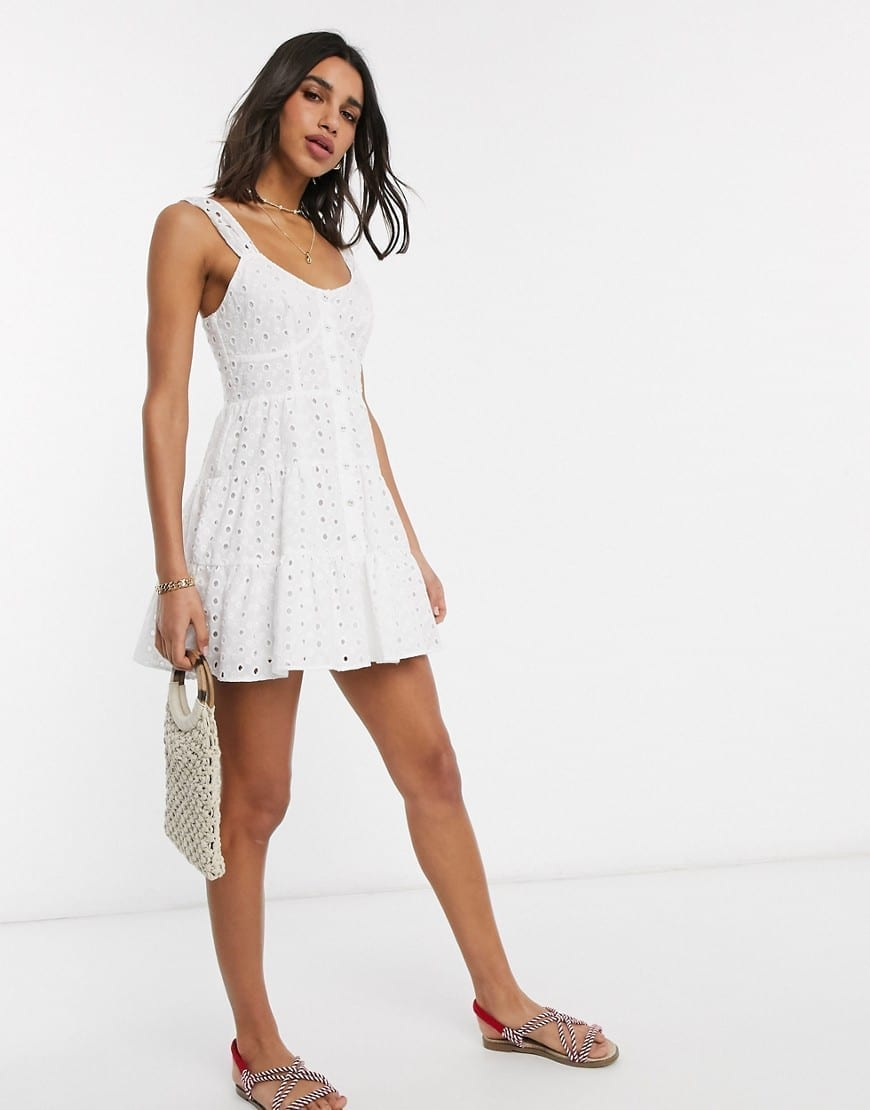 ASOS DESIGN Broderie Button Through Tiered Mini Sun Dress