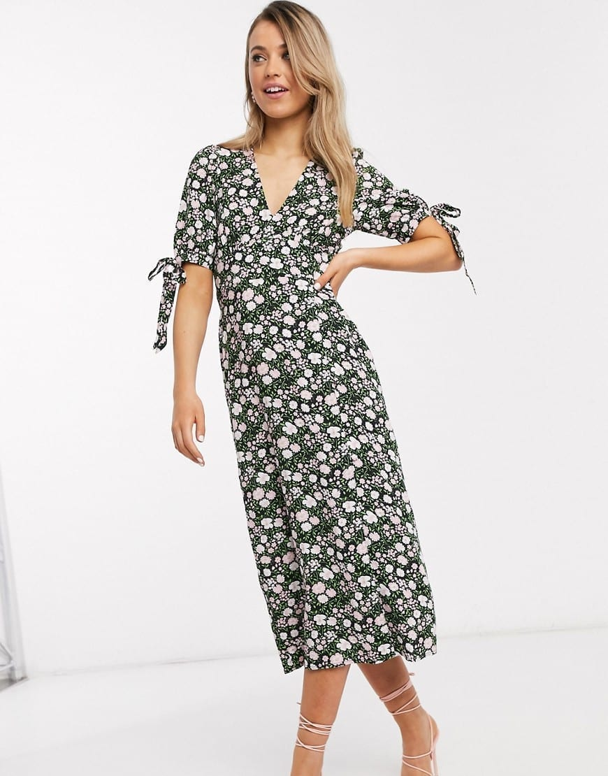 ASOS DESIGN Buttons And Tie Sleeves V Neck Midi Tea Dress