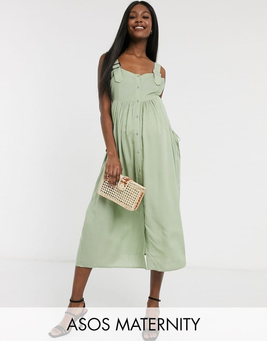 ASOS DESIGN Maternity Overall Button Through Midi Sun Dress