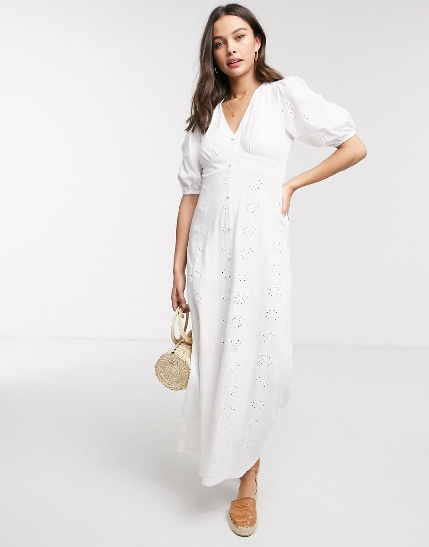 ASOS DESIGN Puff Sleeve Broderie Tea Maxi Dress