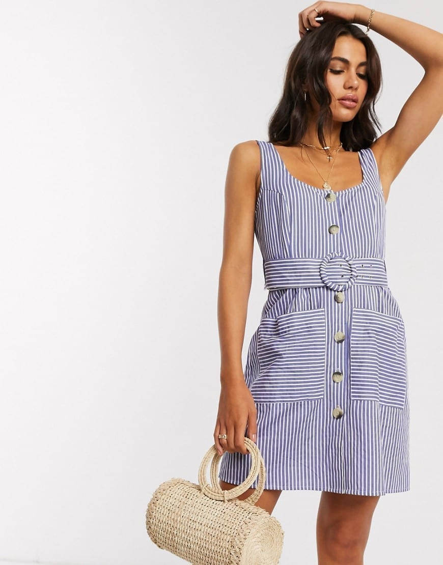 ASOS DESIGN Self Covered Belt Button Through Linen Mini Sun Dress
