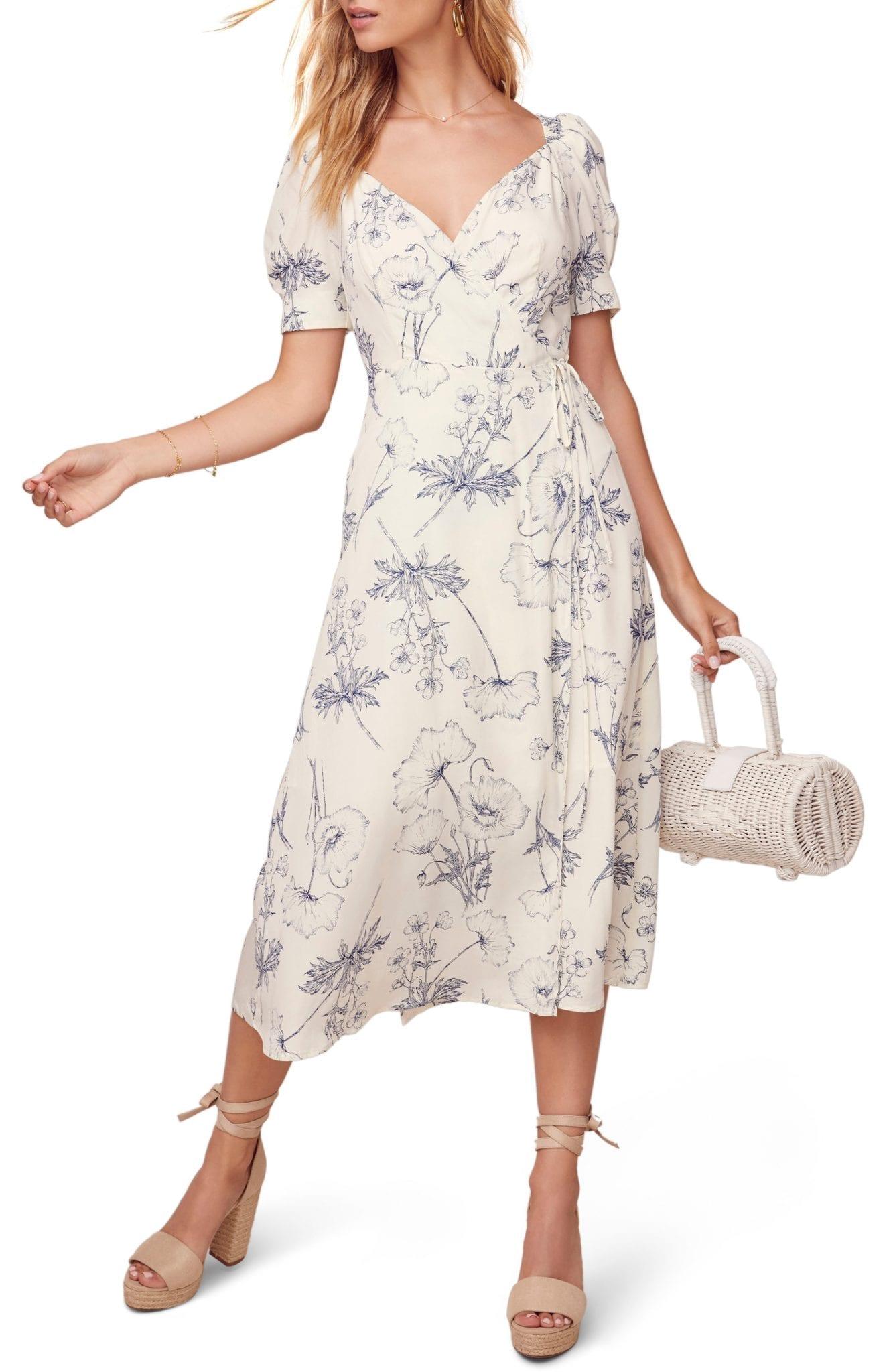 ASTR THE LABEL Elysian Floral Printed Short Sleeved Midi Dress