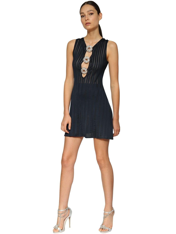 AZZARO Crystal Buckles Lurex Knit Mini Dress