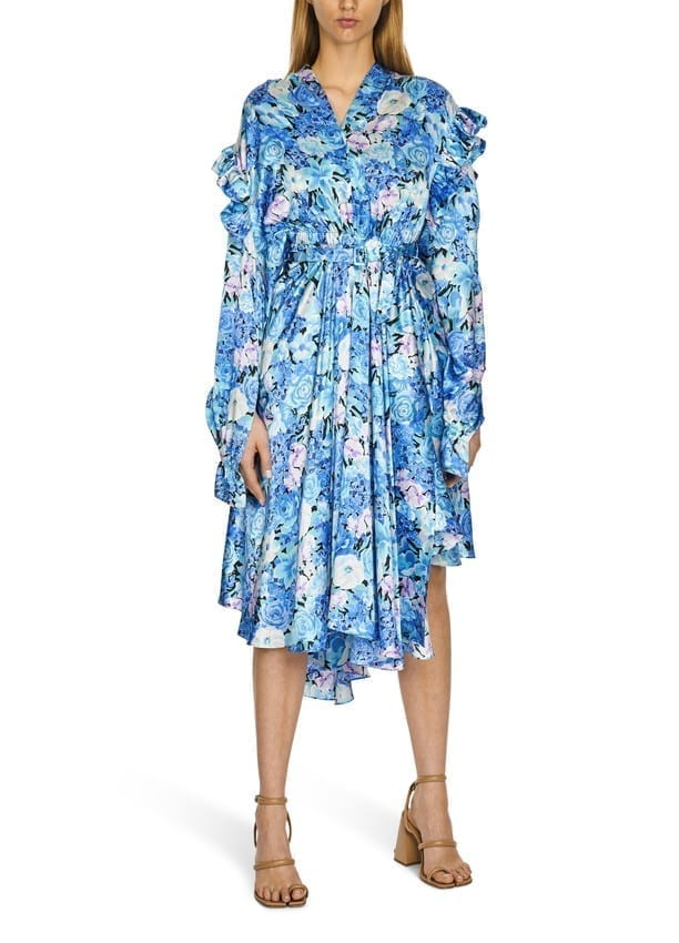 BALENCIAGA Gather Floral Silk Satin Dress