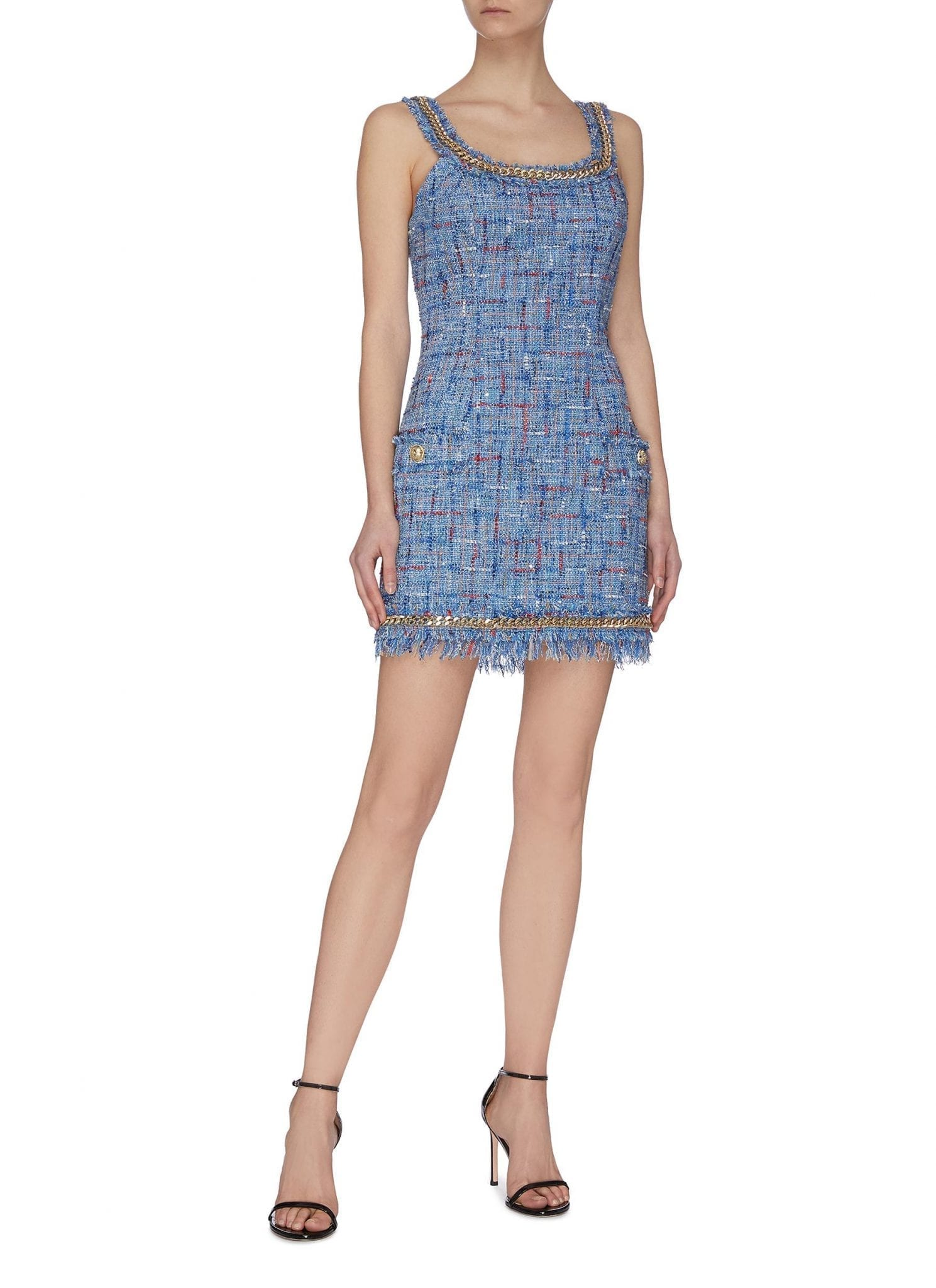BALMAIN Fringe Tweed Denim Dress