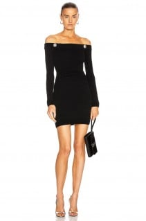 BALMAIN Off The Shoulder Pleated Knit Dress