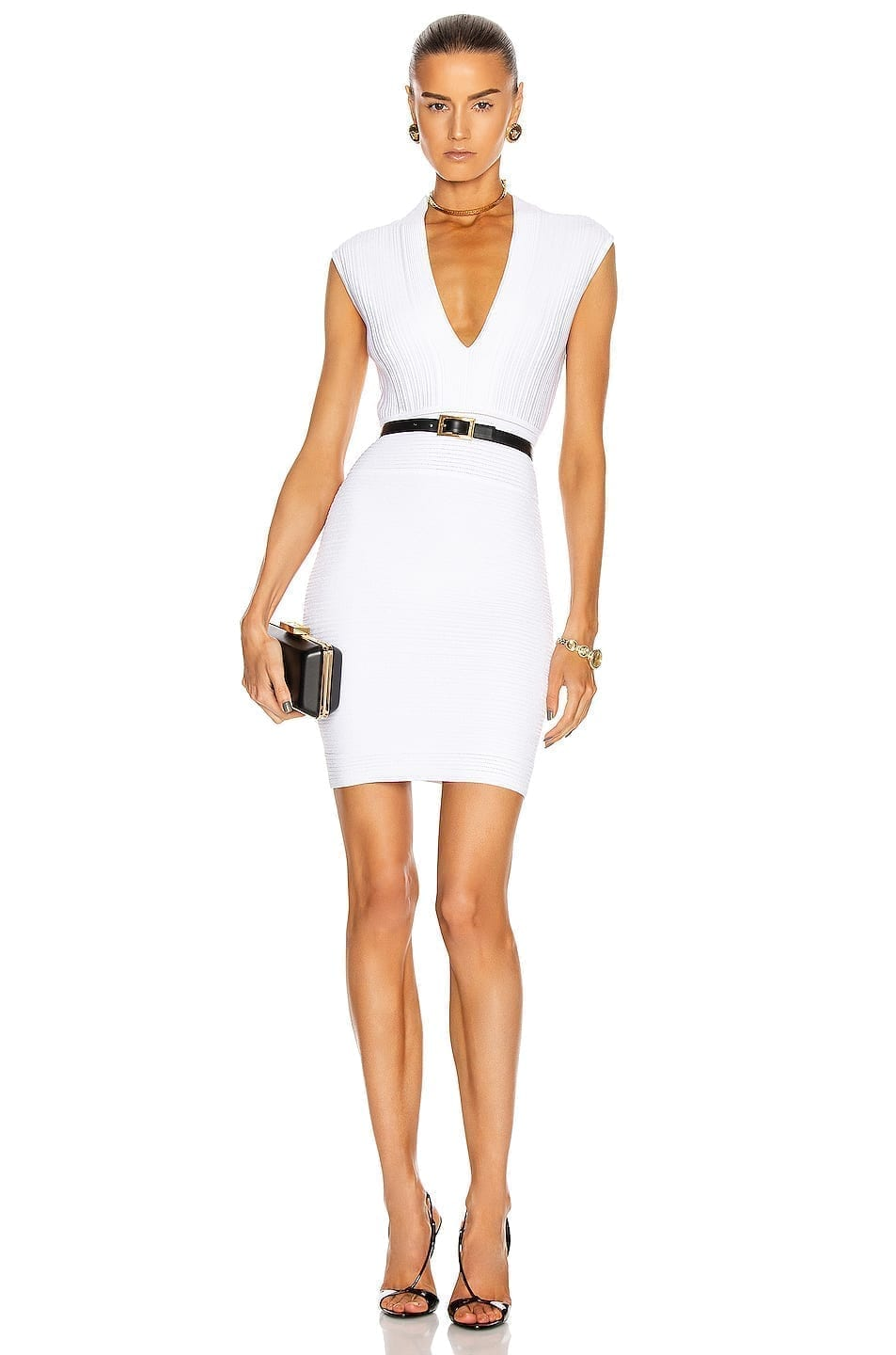 BALMAIN Sleeveless V-Neck Pleated Knit Dress