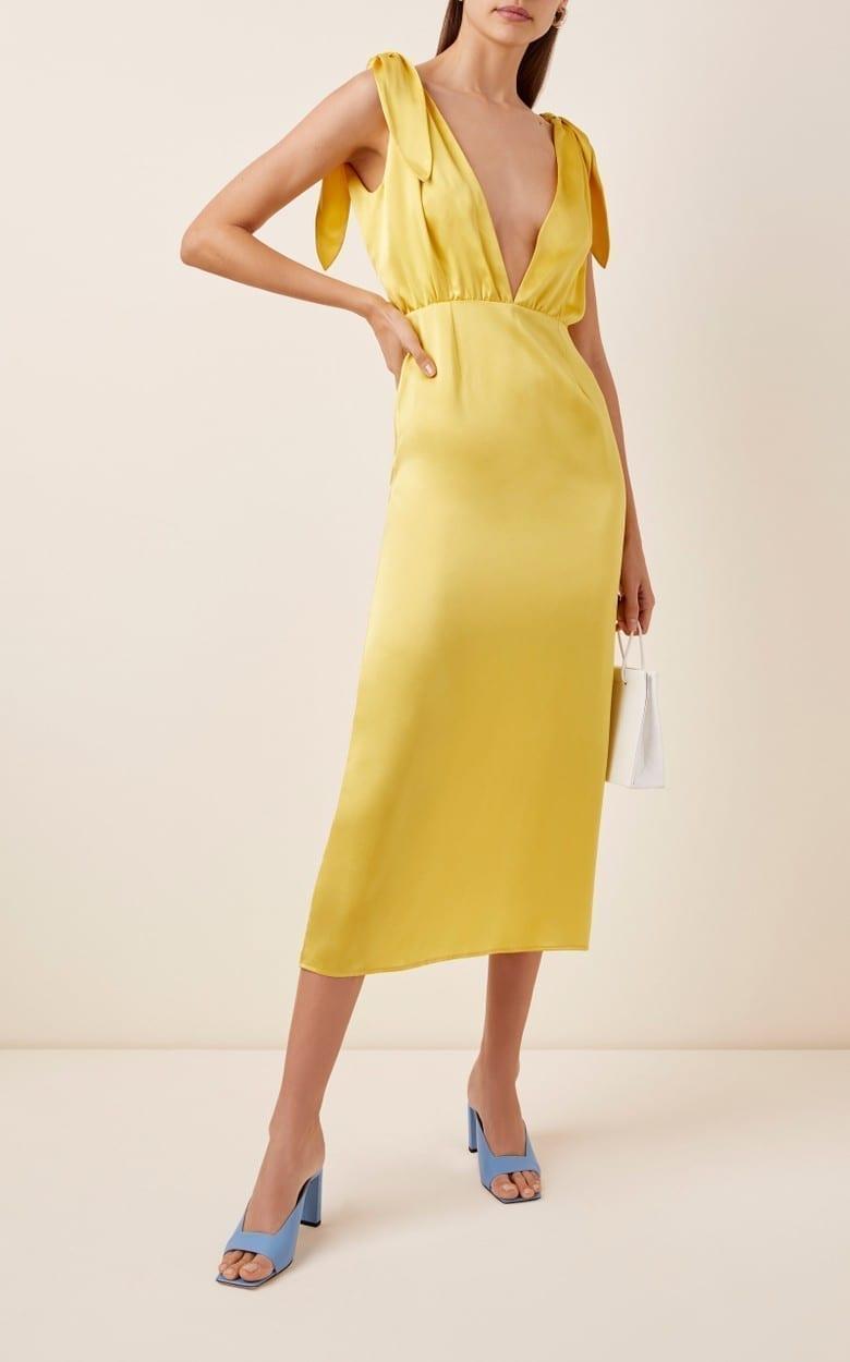 BERNADETTE ANTWERP John Tie-Detailed Silk Satin Midi Dress