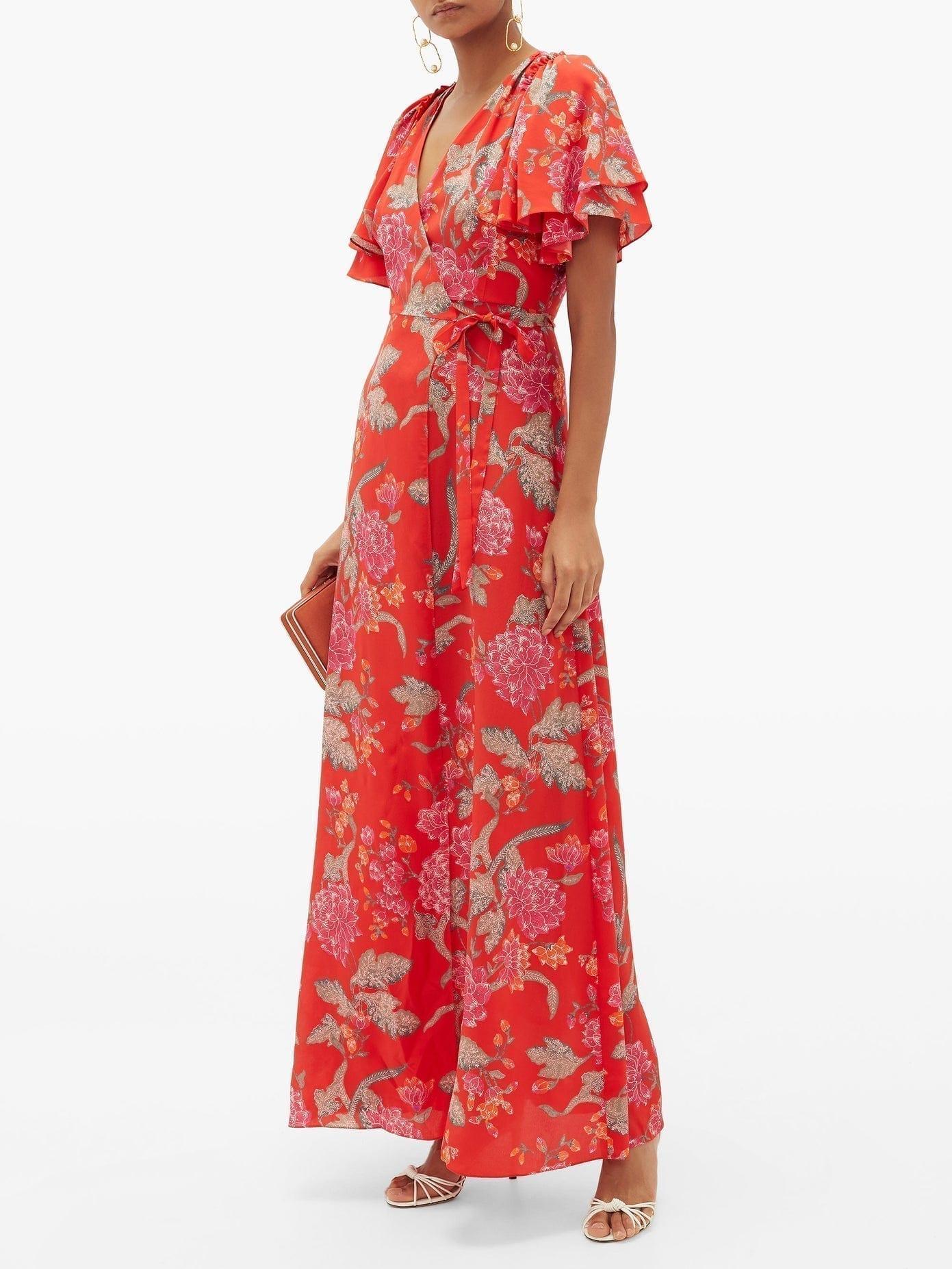 BEULAH Florine Dahlia-print Silk Crepe De Chine Dress