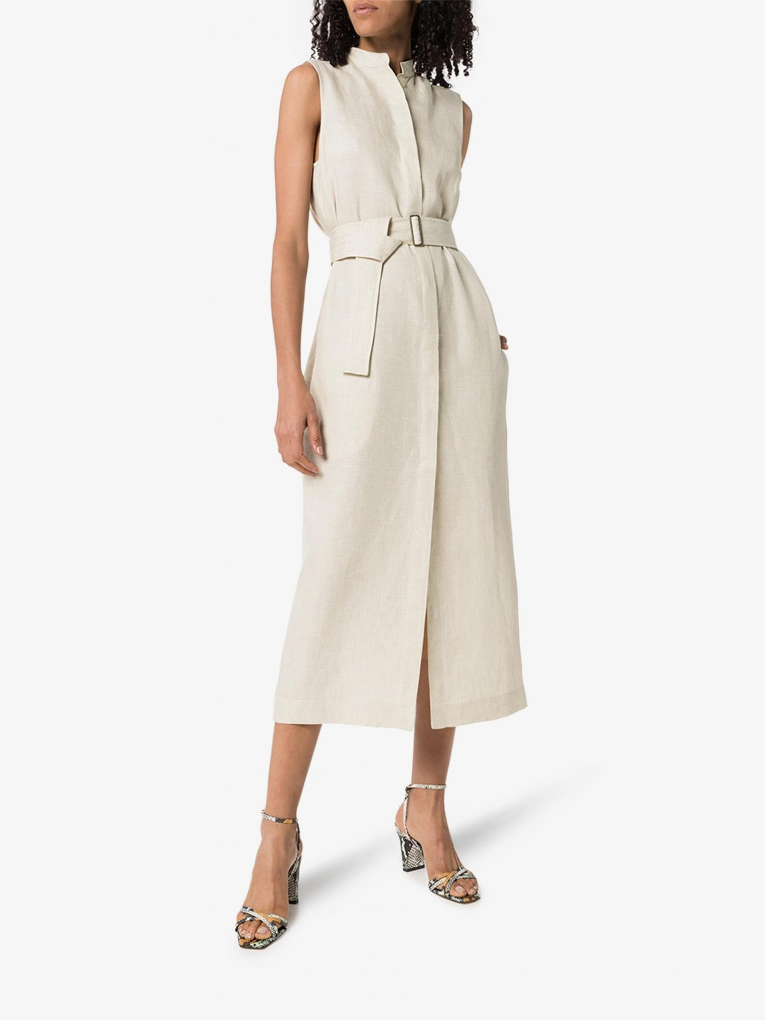 BONDI BORN Utility Belted Linen Midi Dress