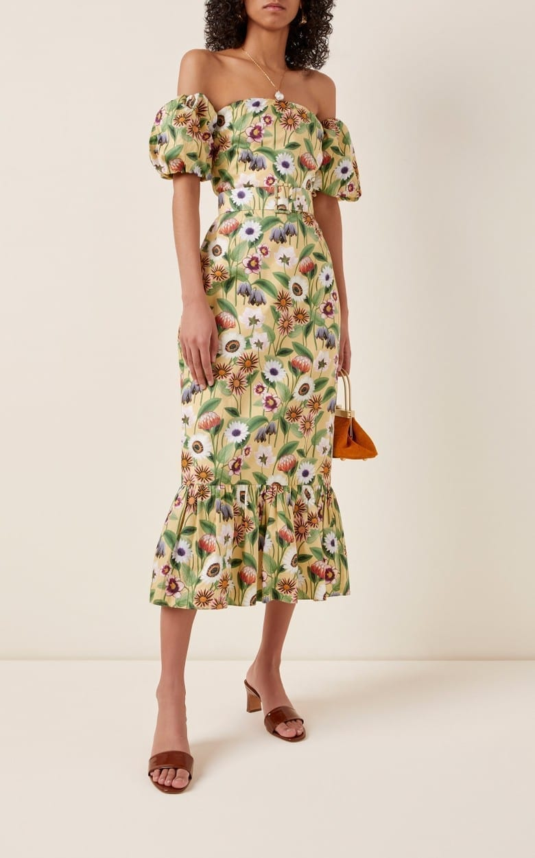 BORGO DE NOR Aleila Floral-Print Cotton-Poplin Midi Dress