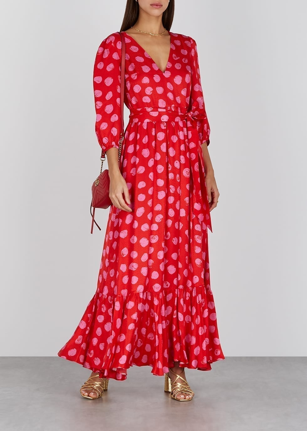 BORGO DE NOR Ariel Polka-dot Satin Midi Dress