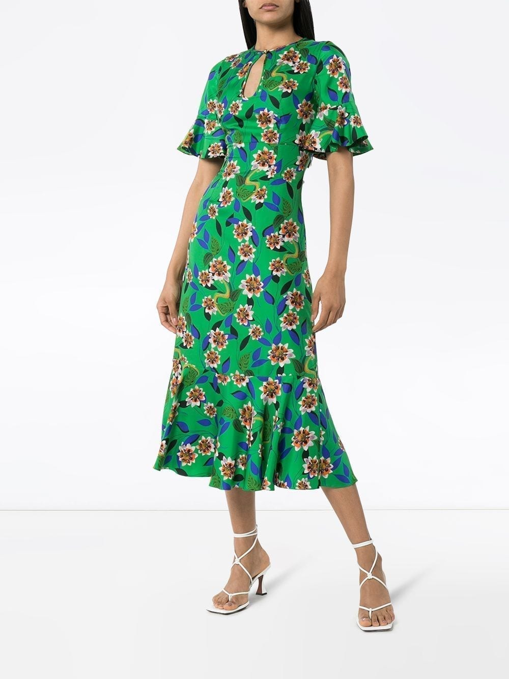 BORGO DE NOR Vivian Ruffled Floral-print Silk Midi Dress