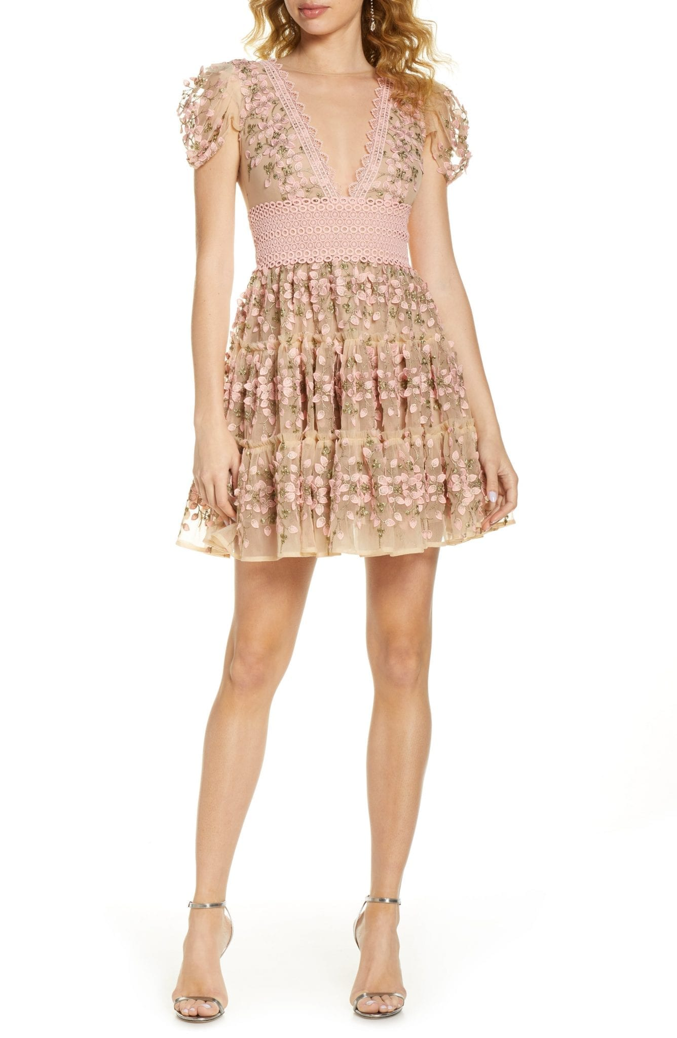 BRONX AND BANCO Megan Rose Floral Lace Mini Dress