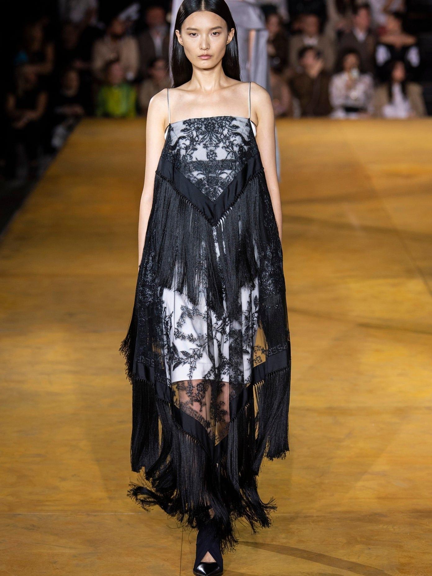 BURBERRY Tasselled Tulle-overlay Twill Dress