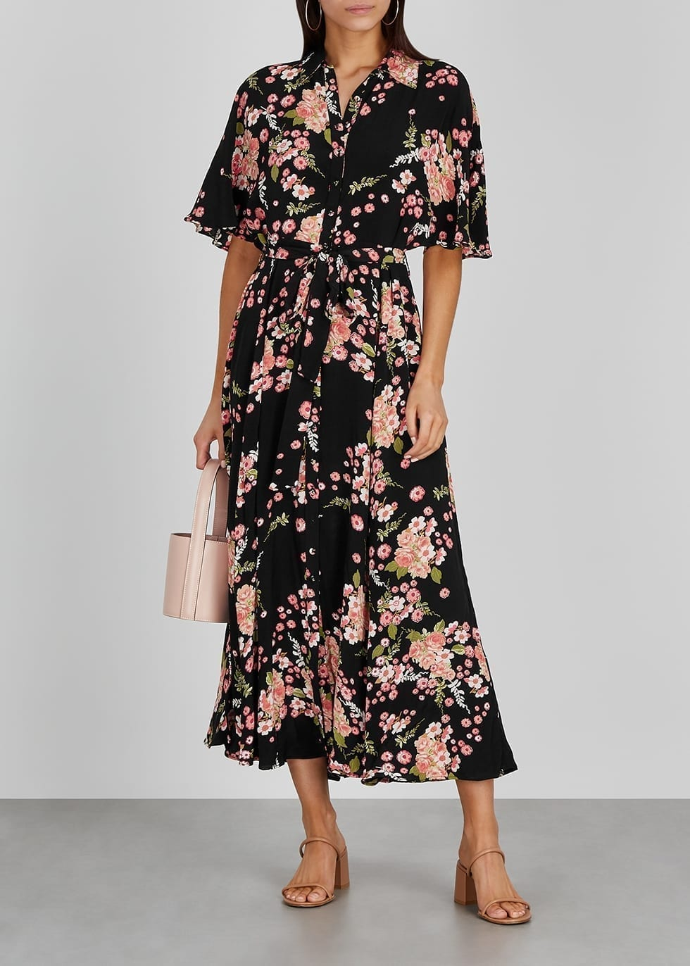 BYTIMO Black Floral-print Shirt Dress