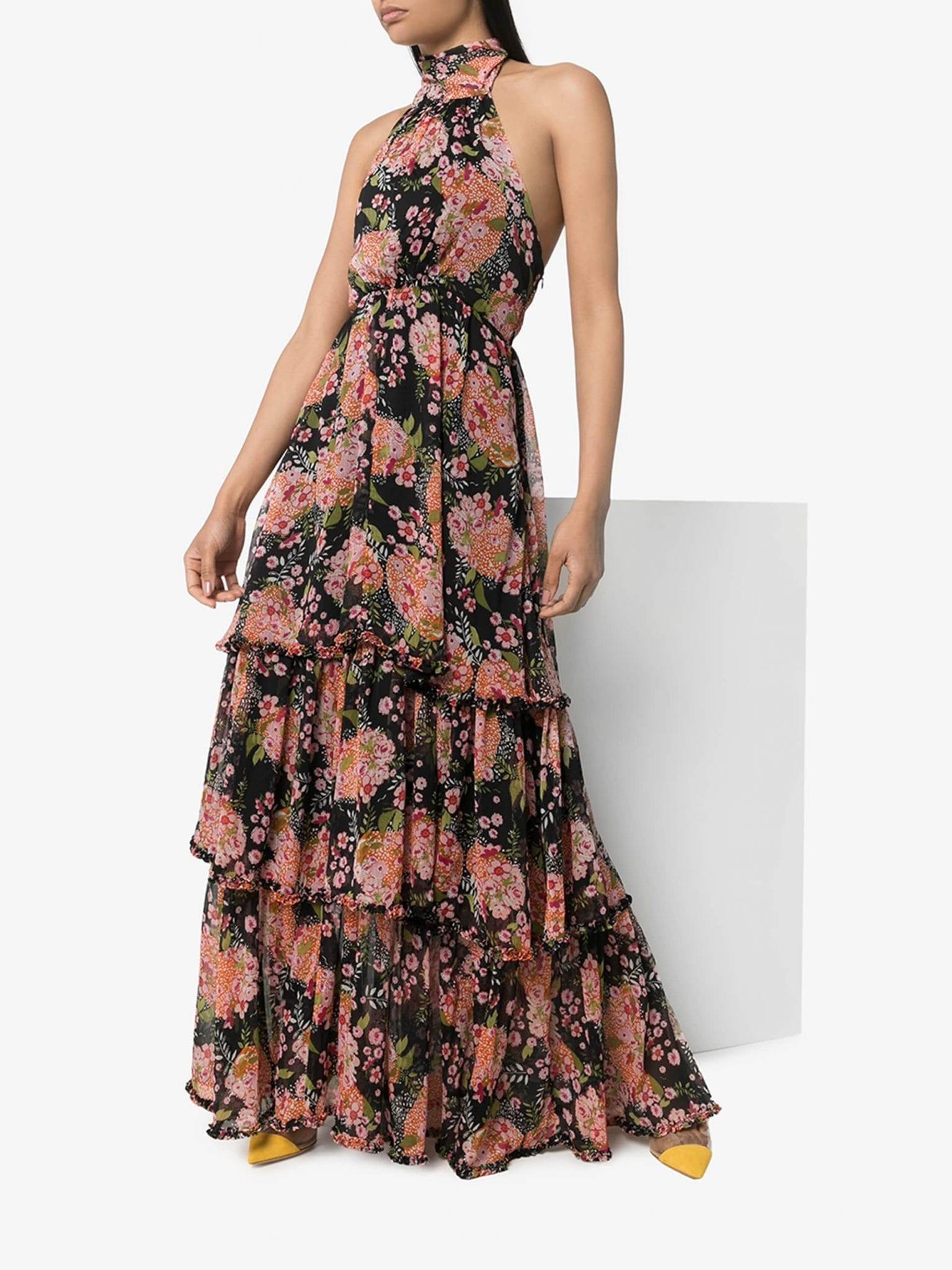 BYTIMO Halterneck Floral Print Maxi Dress