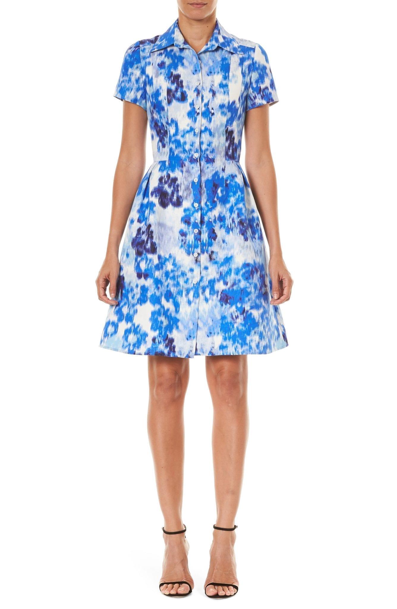 CAROLINA HERRERA Floral Print Cotton & Silk Mini Shirt Dress