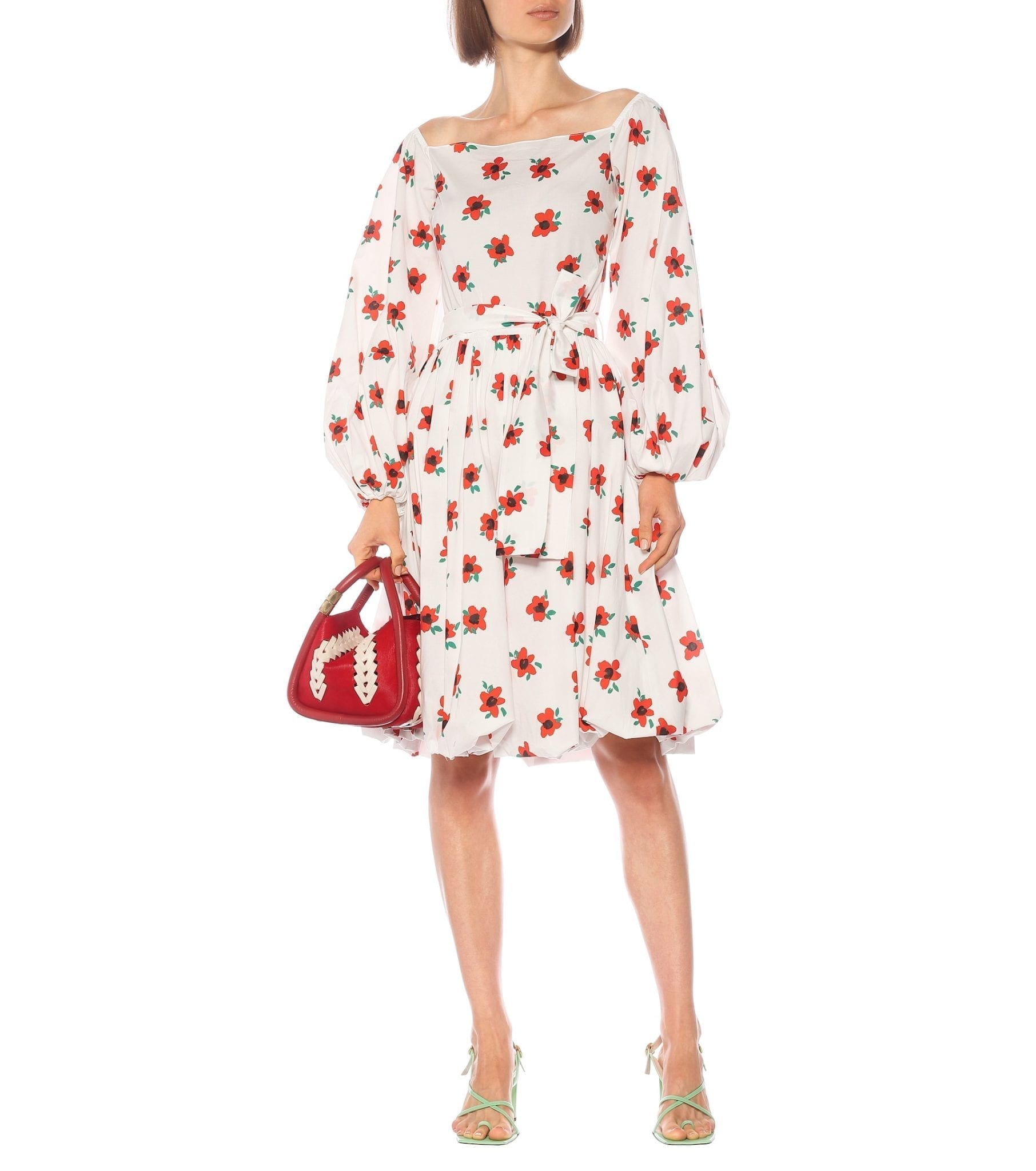 CAROLINE CONSTAS Bea Floral Cotton Midi Dress