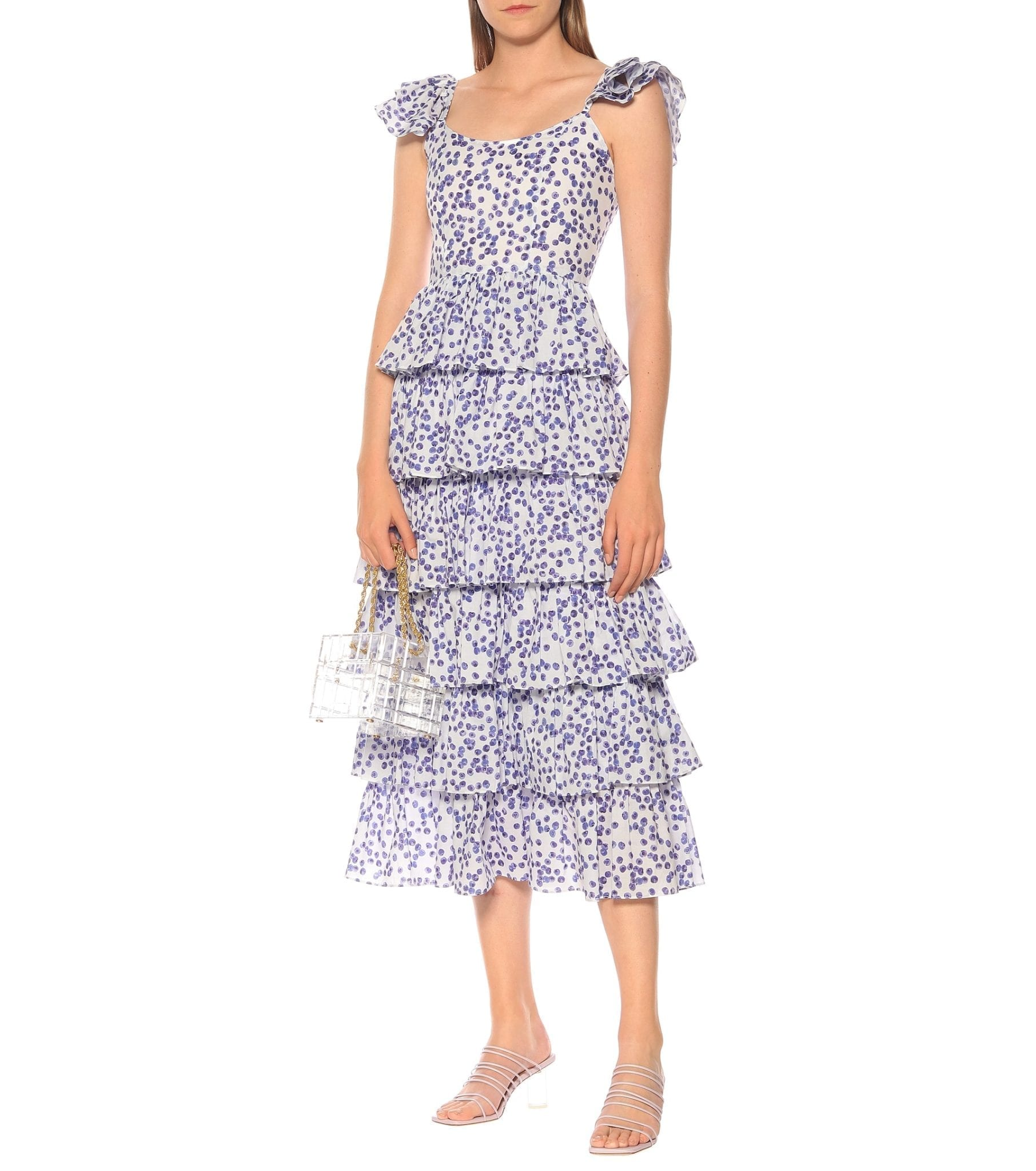 CAROLINE CONSTAS Elba Printed Cotton Midi Dress