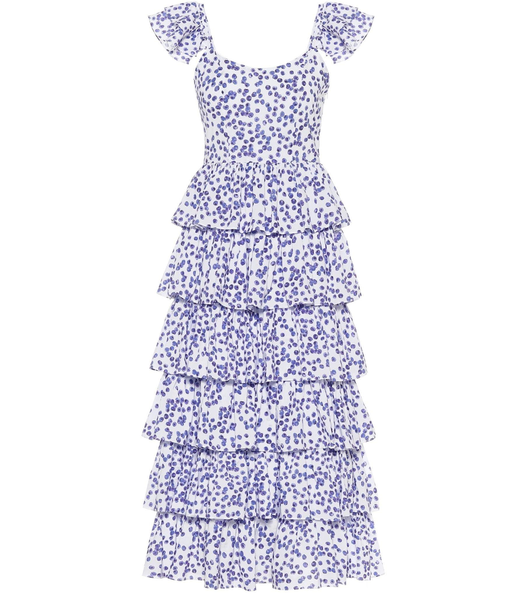 CAROLINE CONSTAS Elba Printed Cotton Midi Dress