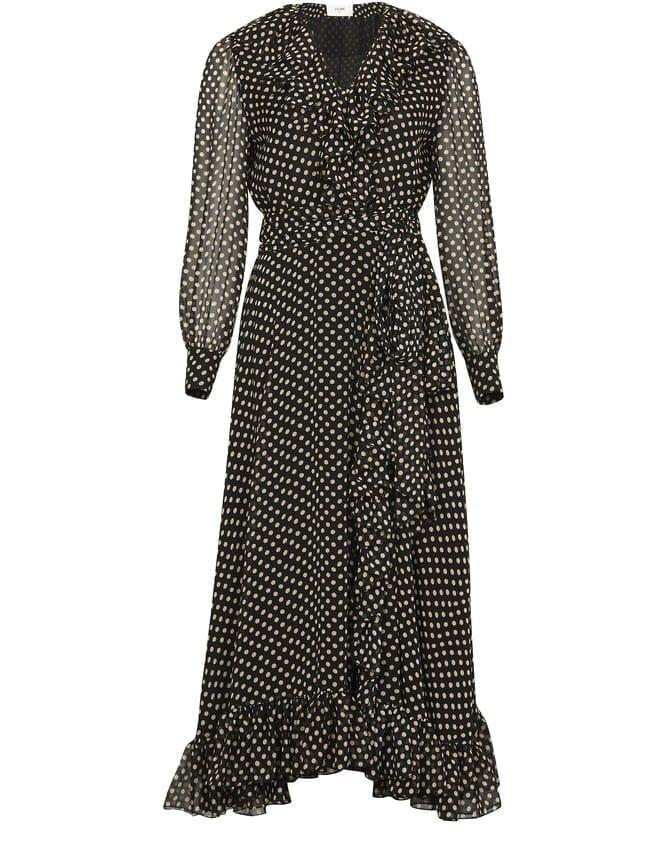 CELINE Wrap Midi Silk Dress