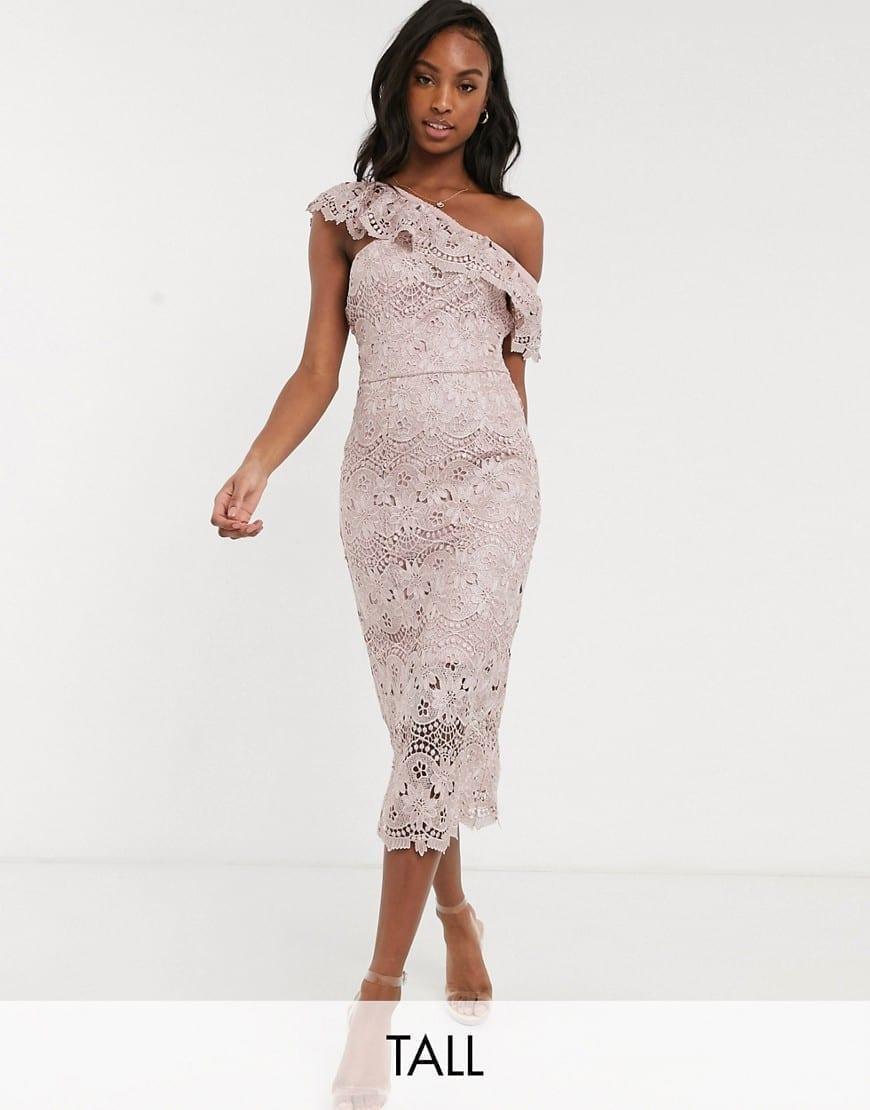 CHI CHI LONDON Asymmetric Ruffle Tall Lace Pencil Dress