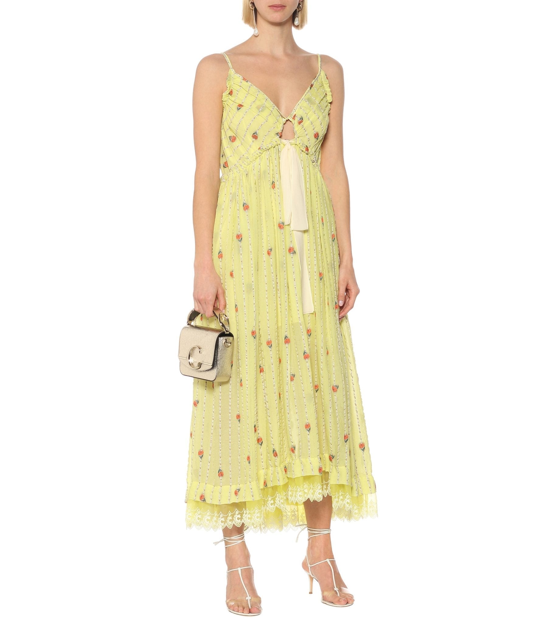 CHLOÉ Silk-blend Muslin Midi Dress
