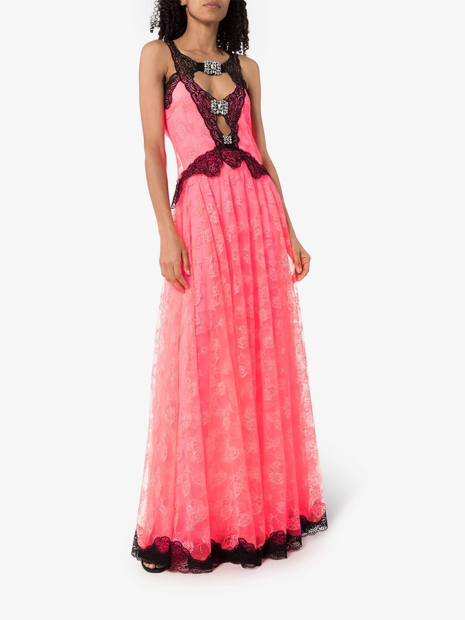 CHRISTOPHER KANE Neon Lace Maxi Dress