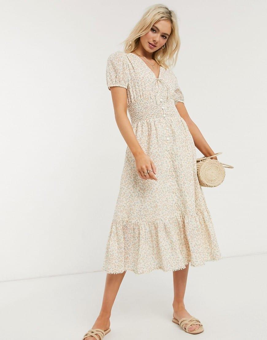 CLEOBELLA Olivia Ditsy Floral Print Midi Dress