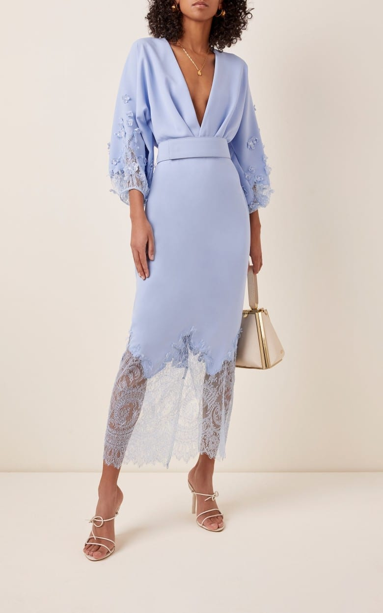 COSTARELLOS Belted Crepe And Chantilly Lace Midi Dress