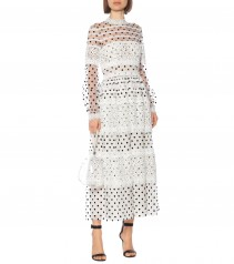 COSTARELLOS Dotted Tulle Maxi Dress