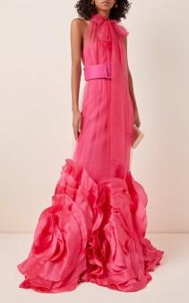 COSTARELLOS High-Neck Silk Tulle And Oversized Organza Dress