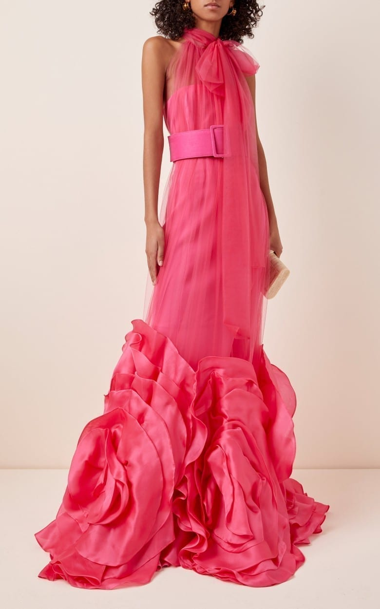 COSTARELLOS High-Neck Silk Tulle And Oversized Organza Dress
