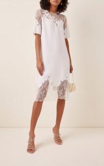 COSTARELLOS Illusion-Neckline Crepe And Lace Midi Shift Dress