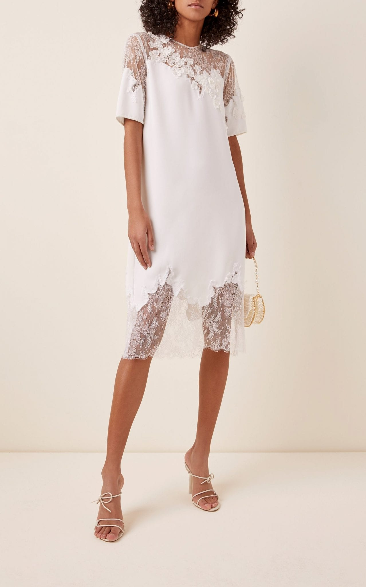 COSTARELLOS Illusion-Neckline Crepe And Lace Midi Shift Dress