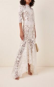 COSTARELLOS Mock-Neck Guipure Lace Handkerchief Dress