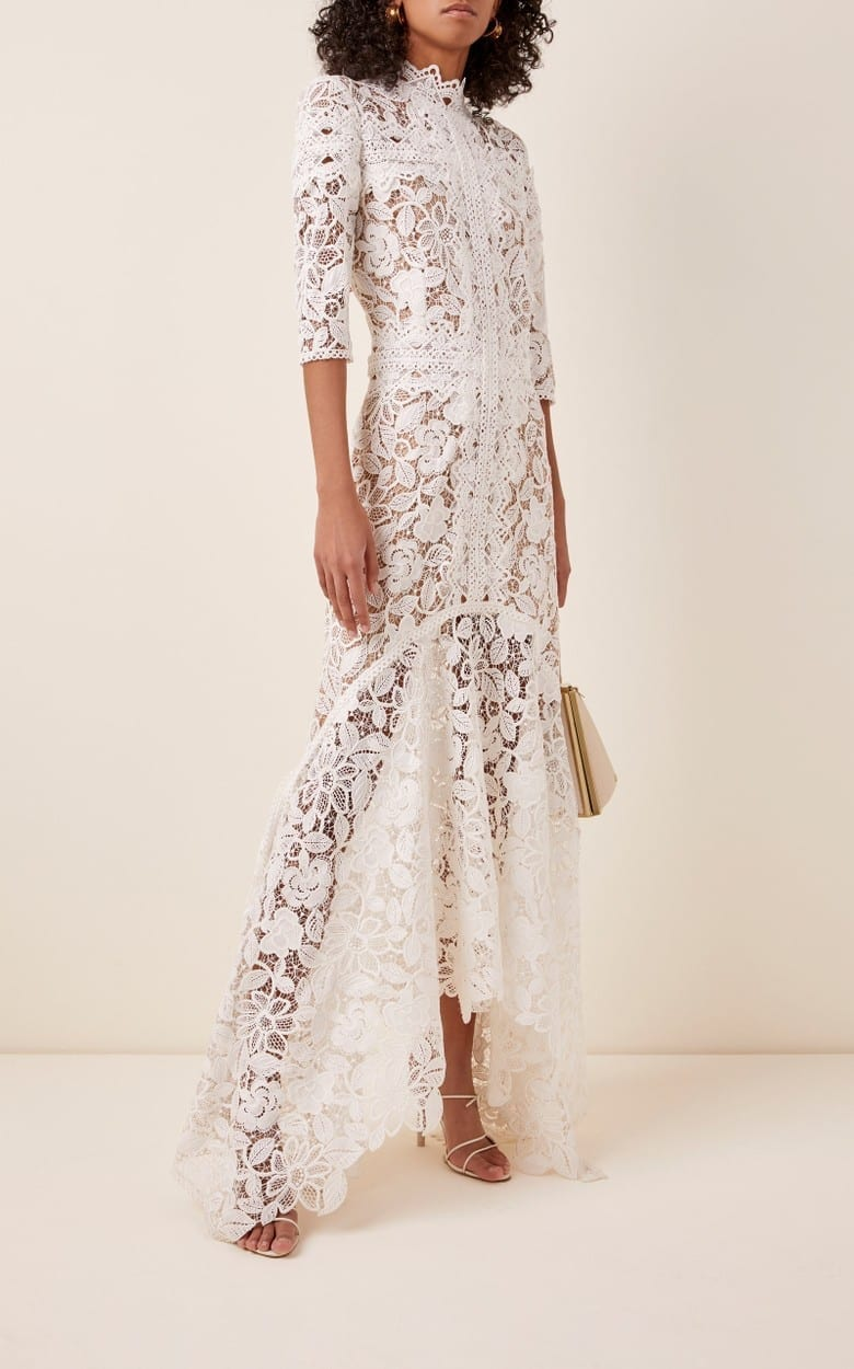 COSTARELLOS Mock-Neck Guipure Lace Handkerchief Dress
