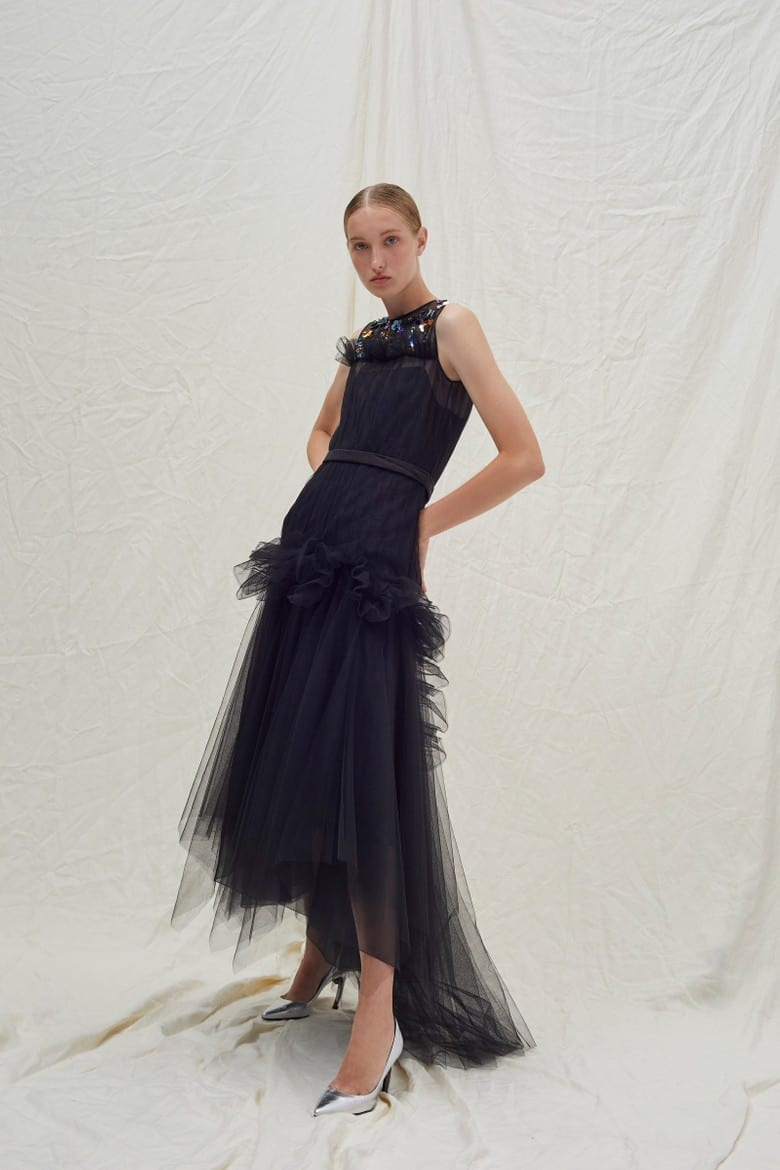 DELPOZO Sequin-Embellished Tiered Tulle Dress