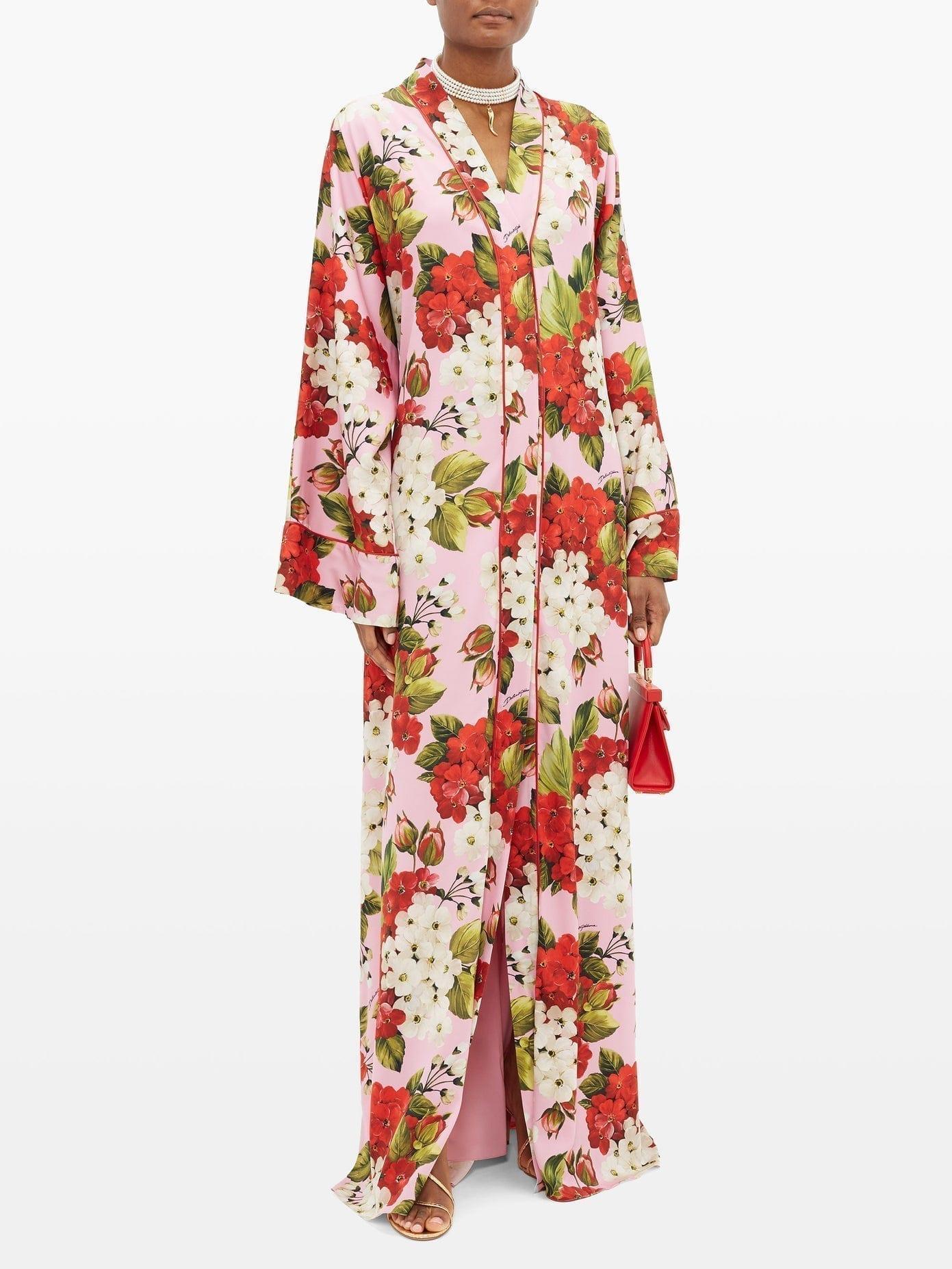 DOLCE & GABBANA Geranium-print Silk-blend Charmeuse Kaftan Dress