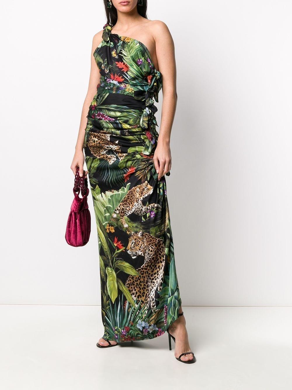 DOLCE & GABBANA Jungle Print One Shoulder Dress