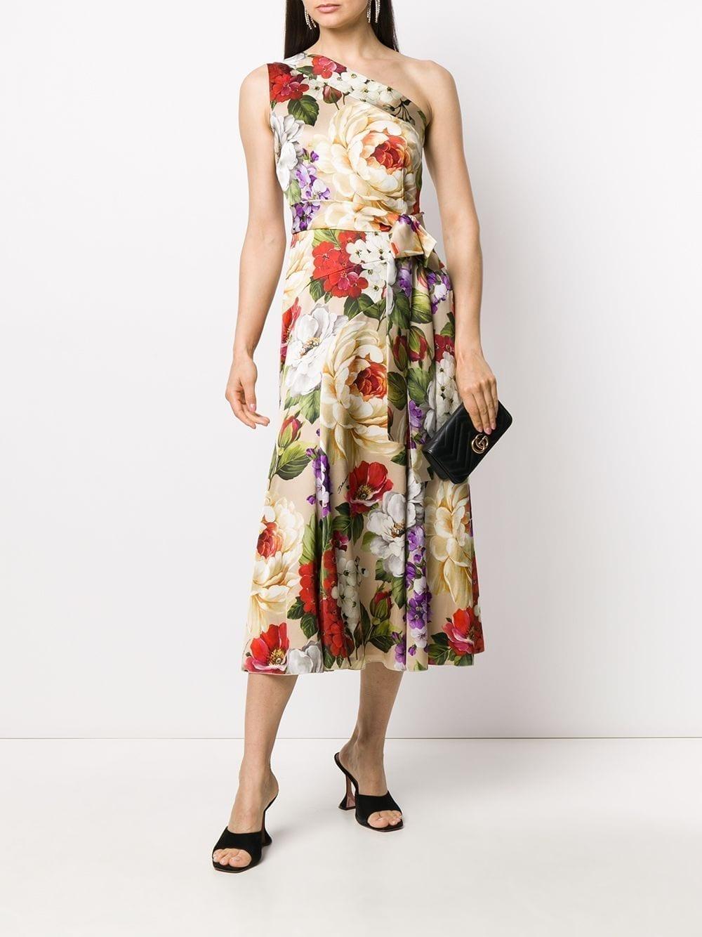 DOLCE & GABBANA One-Shoulder Floral Print Dress