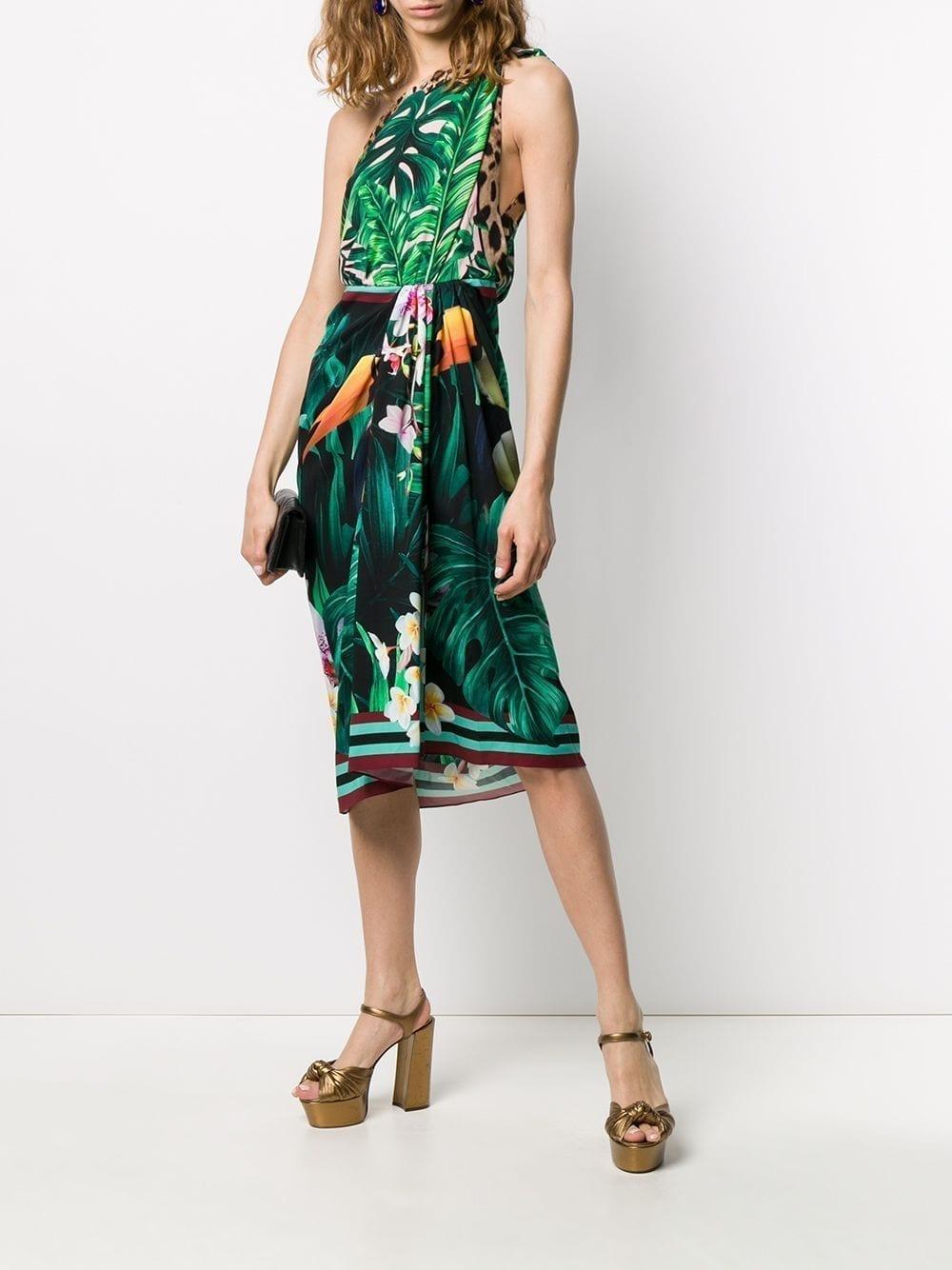 DOLCE & GABBANA One Shoulder Printed Dress