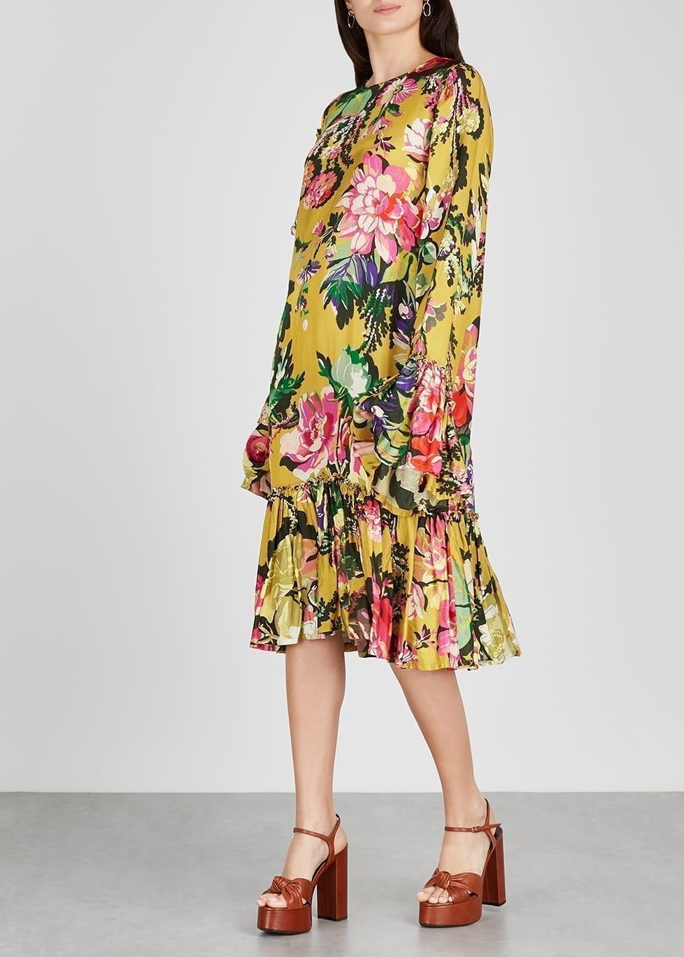 DRIES VAN NOTEN Dash Yellow Floral-print Satin Midi Dress