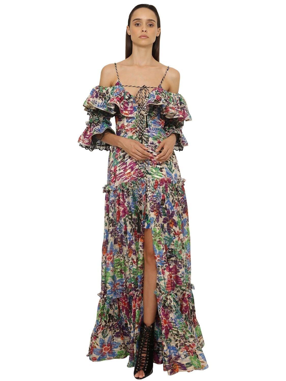 DUNDAS Printed Fil Coupé Long Dress