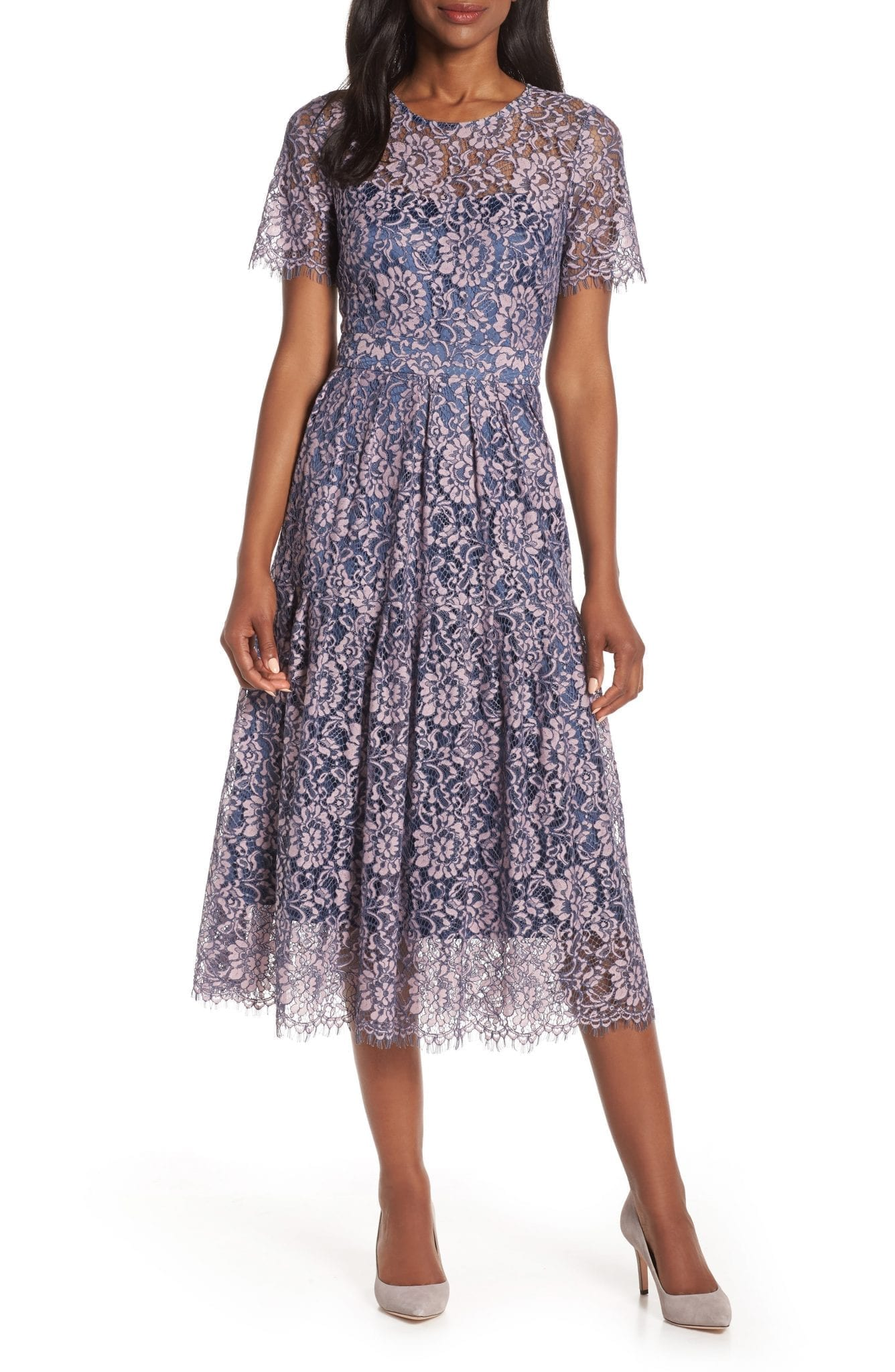 ELIZA J Lace A-Line Midi Dress